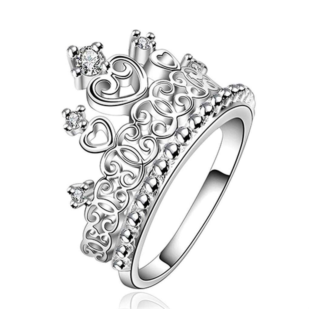 super1798 Women Stunning CZ Silver Plated Princess Queen Crown Ring Band Wedding Jewelry - US 8