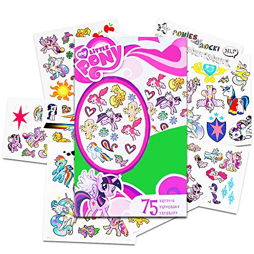 Hasbro My Little Pony Temporary Tattoos - 75 Tattoos - Twilight Sparkle, Rainbow Dash, Fluttershy, Pinkie Pie, Applejack, Rarity, Spike The Dragon, Princess Celestia, and Princess Luna!]()