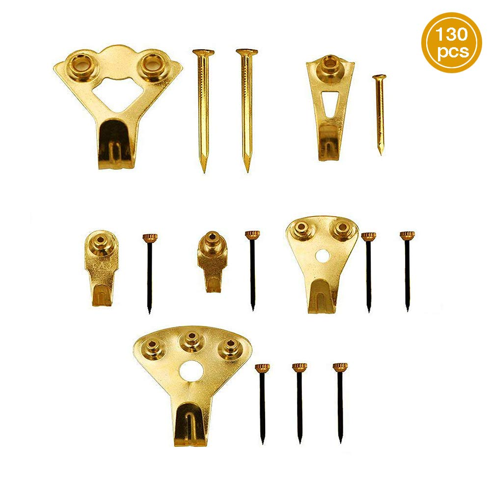 130 Pieces Picture Hanger Hooks, Picture Frame Mount Picture Hanging Set with Nails Support for Wall Mounting, Golden