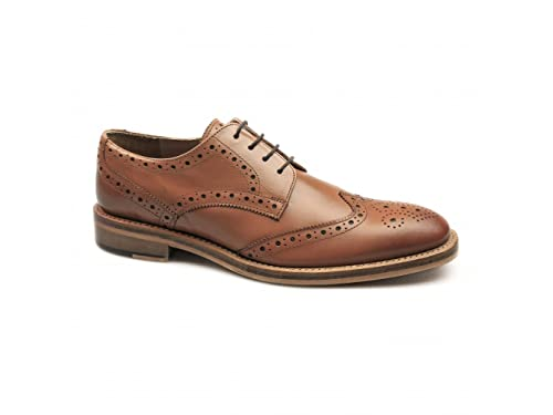 2ee21e47 CATESBY SHOEMAKERS Surrey Mens Leather Goodyear Welted Brogue Shoes Tan UK  10