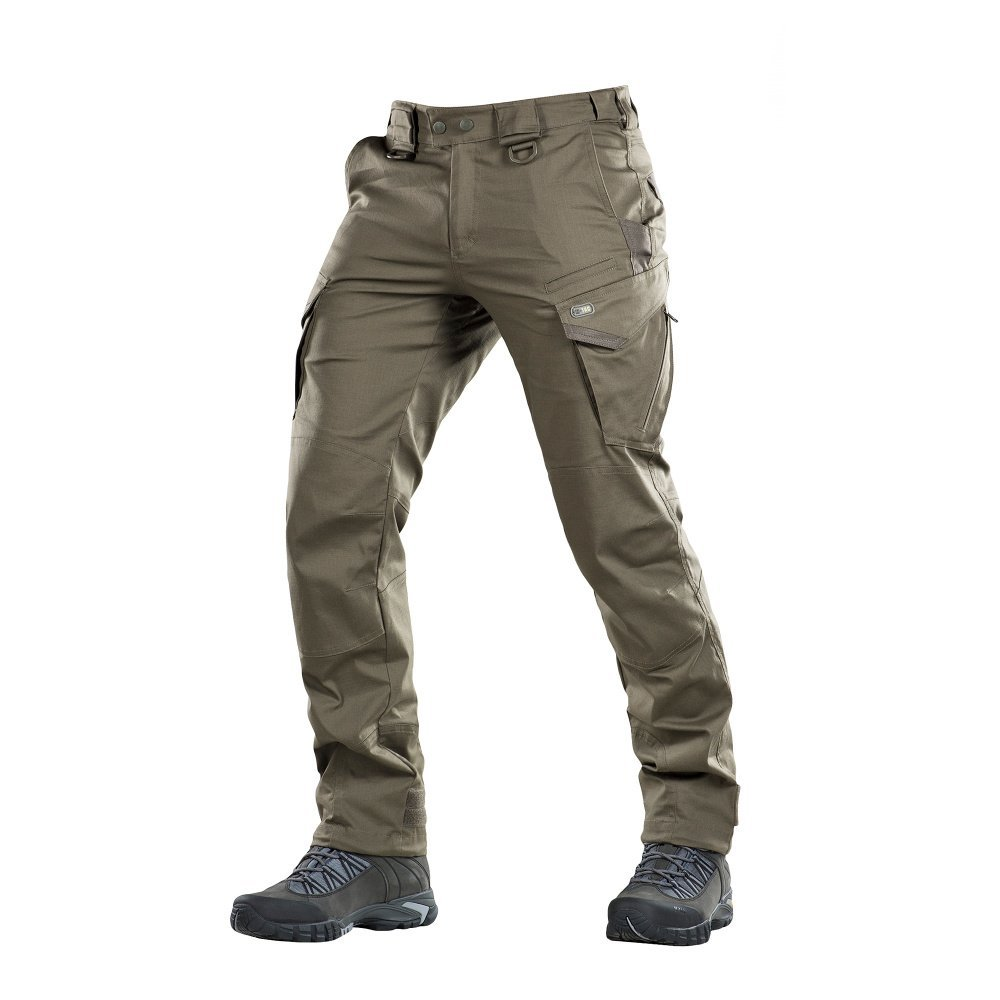 Aggressor Flex - Tactical Pants - Men Black Cotton with Cargo Pockets (Olive Dark, M/R)