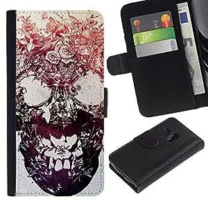 Be-Star la tarjeta de Crédito Slots PU Funda de cuero Monedero caso cubierta de piel Para Samsung Galaxy S3 MINI 8190 (NOT S3) ( Skull Floral Flowers Metal Tattoo Ink )
