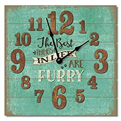 The Best Things in Life are Furry 12 Rustic Antique Wall Clock Made in USA from Reclaimed Wood Slats