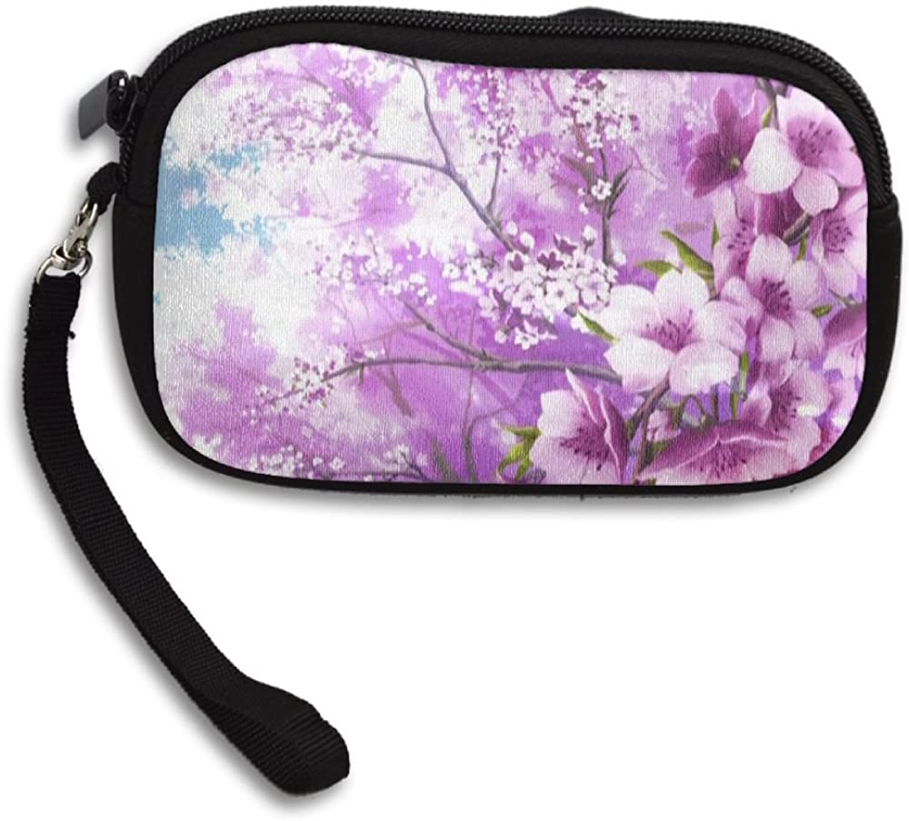 Japanese Cherry Blossom Deluxe Printing Small Purse Portable Receiving Bag