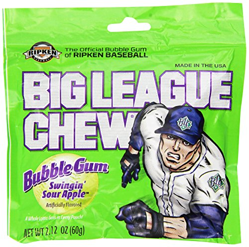 Big League Chew, Swingin' Sour Apple Bubble Gum, 2.12-Ounce Pouches (Pack of (Big League Chew Bubble Gum)