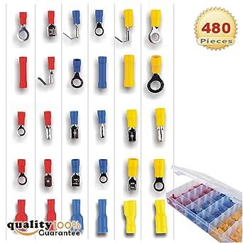 300Pcs Assortment Nylon Electrical Crimp Wire Connectors Terminals Spade Set Kit