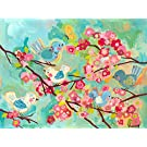 """Oopsy Daisy Cherry Blossom Birdies Stretched Canvas Wall Art, 24"""" X 18"""""""