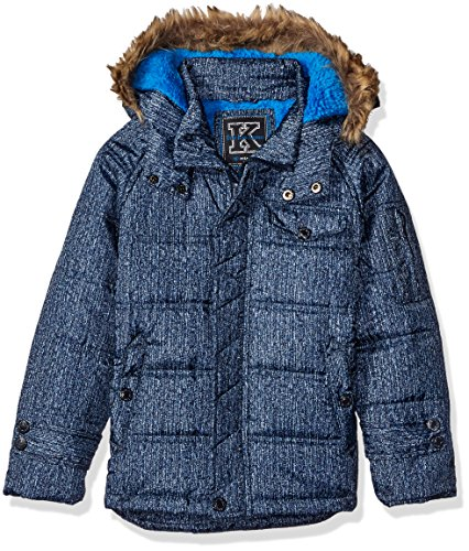 Ok Kids! Big Boys' Box Quilt Jacket with Fleece Lined Hood, Navy, 12/14. Box Quilted Jacket