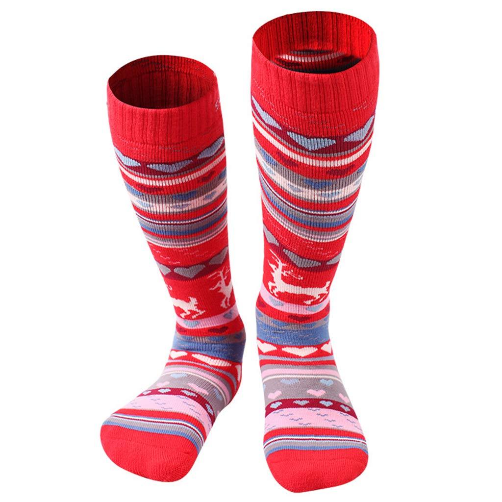 Gogokids Calcetines de Esquí para Niñas Niños Invierno Térmico Largo Acolchado Rojo EUR 26-30