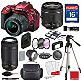 Nikon D5500 DX-format Digital SLR (Red) w/AF-P DX NIKKOR 18-55mm f/3.5-5.6G VR Lens, AF-P DX NIKKOR 70-300mm f/4.5-6.3G ED, Professional Accessory Bundle (18 Items)