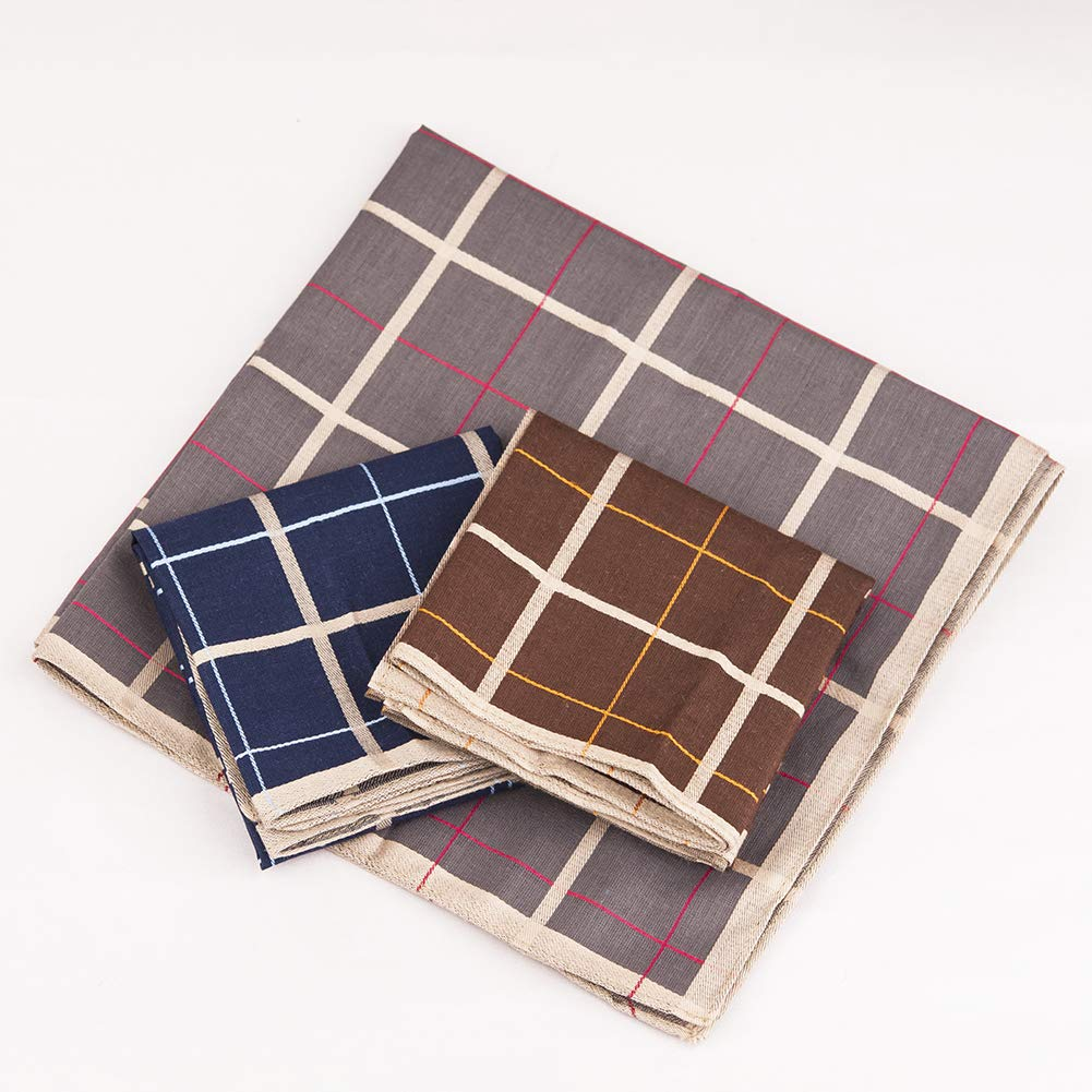 3 Colors 16 16 Inches Houlife Mens 100/% Cotton Striped Checked Handkerchief Vintage Hankie