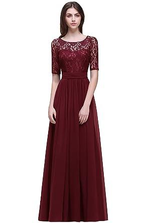 b595e1bb371 Babyonlinedress Girls Chiffon Prom Homecoming Dresses 2017 with Long  Sleeves,Burgundy,Size 2