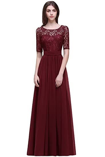 a088875326 Women Lace Chiffon Evening Cocktail Dresses Sleeves Bridesmaid Babyonline
