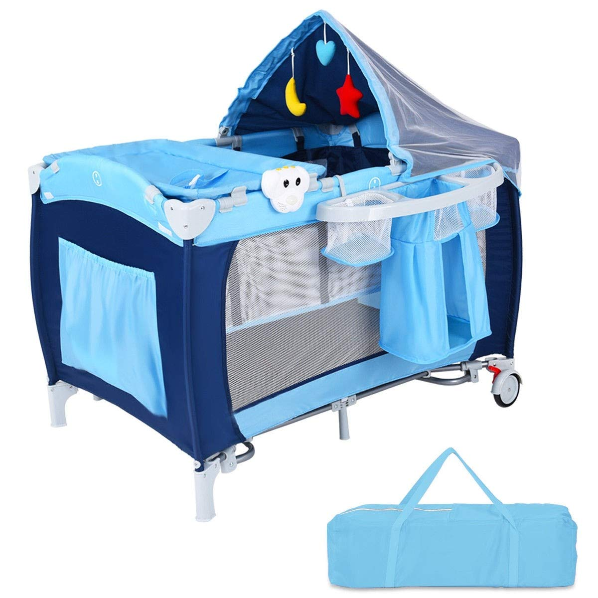 Foldable Baby Crib Playpen w Mosquito Net and Bag | Weight Capacity: 30.8 lbs | Blue by Cway