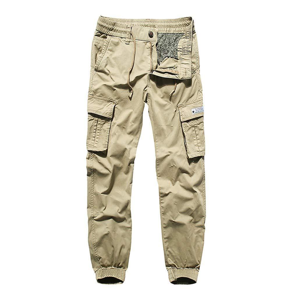 Palarn Casual Athletic Cargo Pants Clothes, Fashion Men's Regular Fit Pants Cargo Pants Casual Trousers Work Pants Khaki
