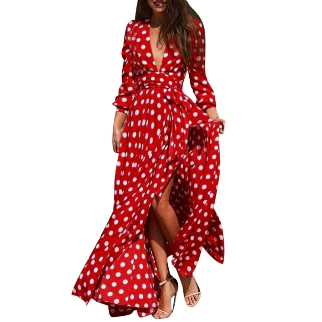 lotus.flower 2018 Women Casual V-Neck Polka Dot Boho Zippers Beach Long Sleeve Dress With Lace Up (S, Red)