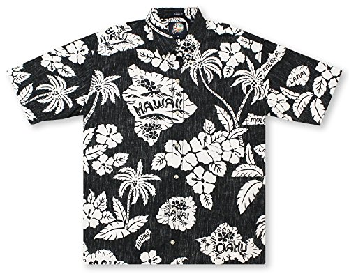 Surf Camp Shirt - Reyn Spooner Men's Reyn'S Surf Camp Button Front, Black, L