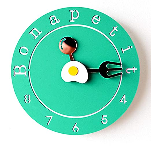 RJJ Forma Amarillo/Verde Vajilla Creativo Reloj De Pared De ...
