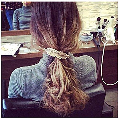 Golden + plata + bronce DWE Feather Hair Clips, 3/unidades forma de hojas plateado brillante Clips Pin pinza para accesorios para el pelo para las mujeres ni/ñas