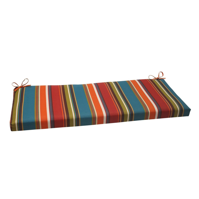 Amazon com 45 multi color jewel tone striped outdoor patio furniture bench seat cushion jewel tone christmas decorations garden outdoor