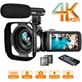 """Video Camera 4K Camcorder Vlogging Camera Recorder with Microphone 30MP 3"""" LCD Webcam Function Touch Screen 18X Digital Zoom YouTube Camera with Remote Control"""