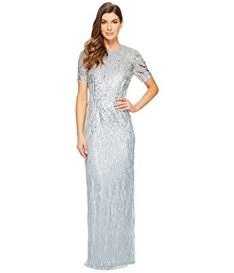 f4fea540a20 Adrianna Papell Women s Ombre Sequin Column Gown with Elbow Length Sleeves  Blue Heather Dress