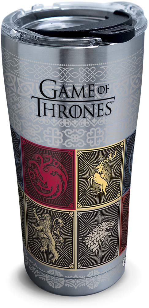 Tervis 1325309 HBO Game of Thrones - House Sigils Insulated Travel Tumbler & Lid, 20 oz - Stainless Steel, Silver