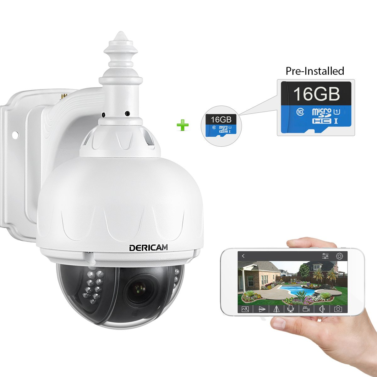 dericam outdoor wifi wireless ip security camera ptz camera 4x optical zoom ebay. Black Bedroom Furniture Sets. Home Design Ideas