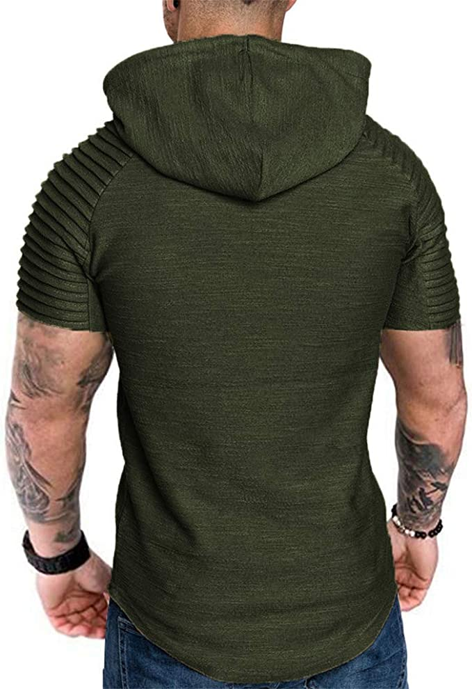 Forthery Mens Gym Hooded Jacket Raglan Short Sleeve Tank Athletic Slim Fit Lightweight Workout Fitness Tops
