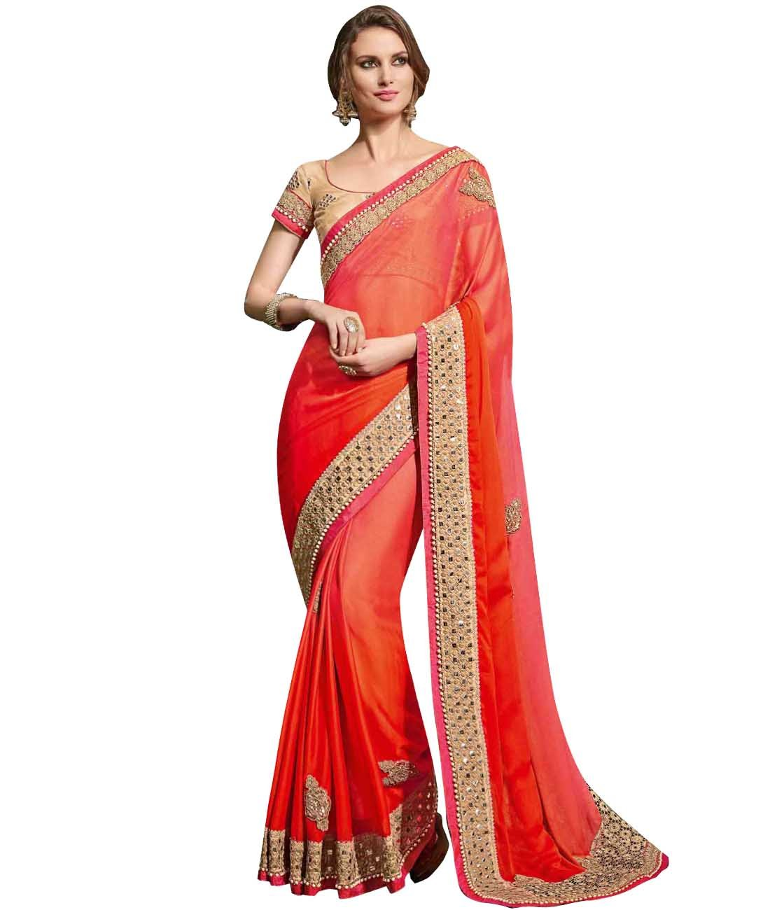 Indian Ethnic Silk Ombre Red And Pink Fancy Saree