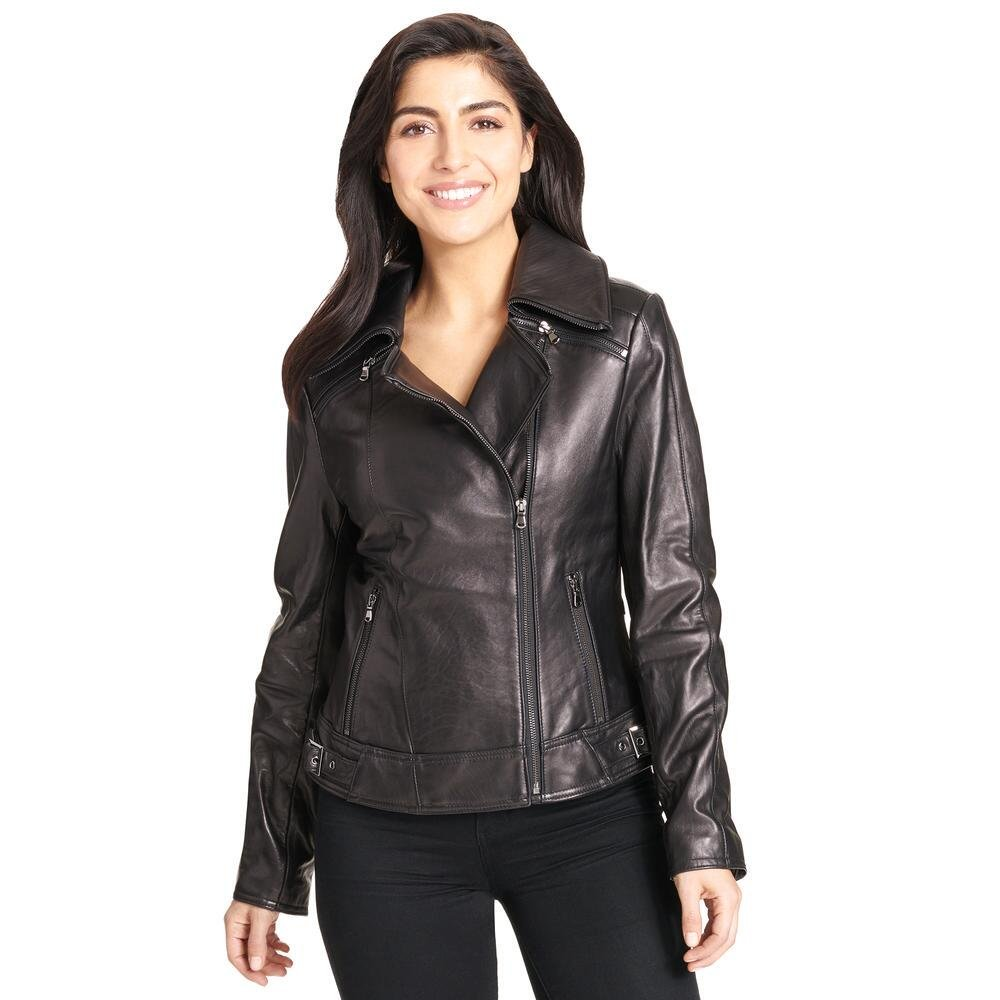Wilsons Leather Womens Zipper Collar Asymmetric Lamb Cycle Jacket XL Black by Wilsons Leather