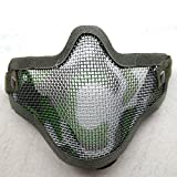 LANDVO Tactical Adjustable Strike Steel Mesh Airsoft Paintball BB Gun Half Face Protection Mask (Army Camouflage)