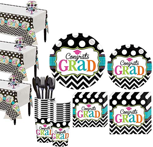 Party City Dream Big Graduation Mega Tableware Kit for 50 Guests, Includes Place Settings, Cups, and Decorations