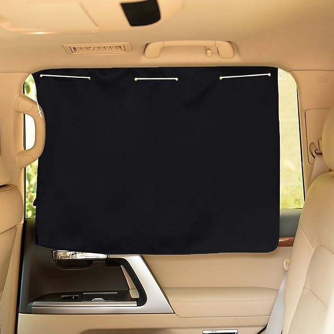 2pcs Car Window Curtain Sunshade Black Weave Type UV Protection Made in Korea