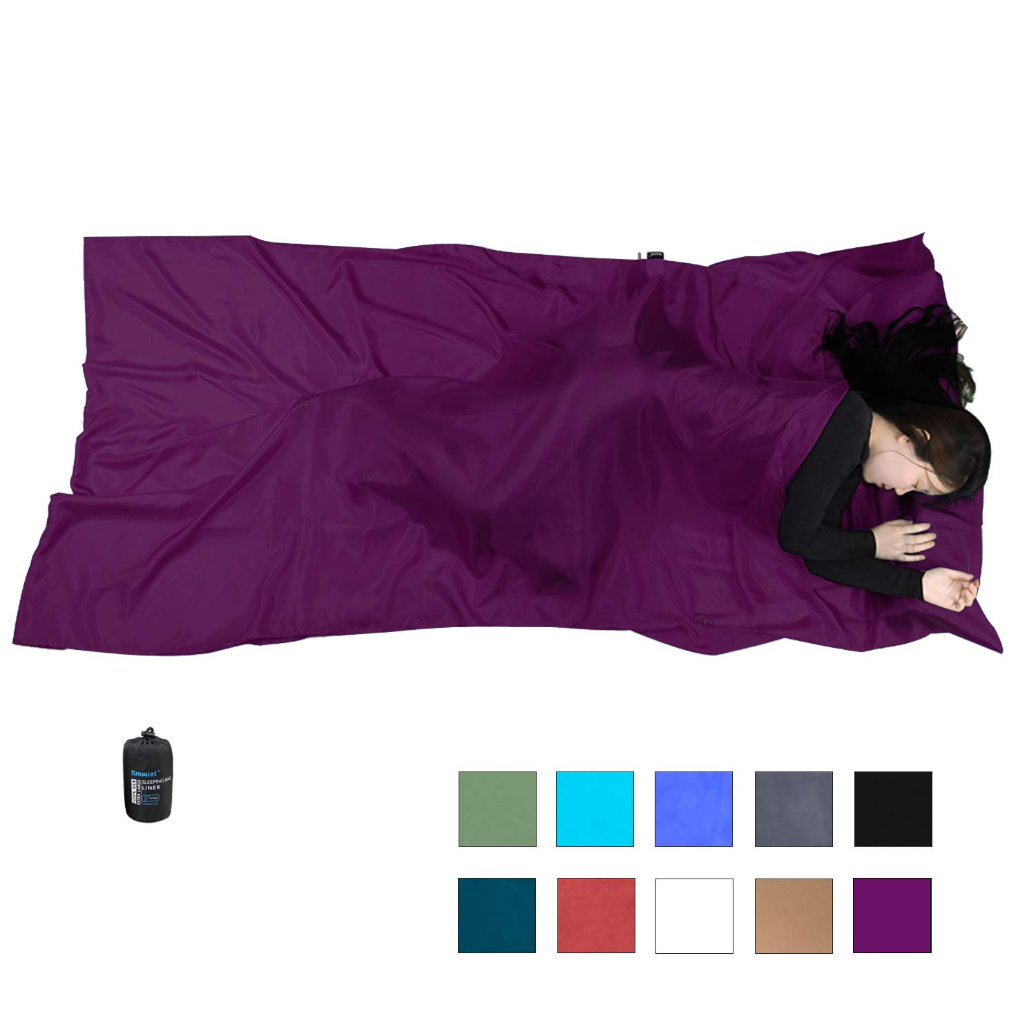 Browint Silk Sleeping Bag Liner, 100% Mulberry Silk Sleep Sheet, Sack, Extra Wide 87''x43'' & 87''x34'', Lightweight Travel Sheet for Hotel, Envelop Rectangular 73''x34'', Hooded Mummy 87''x34'' by Browint
