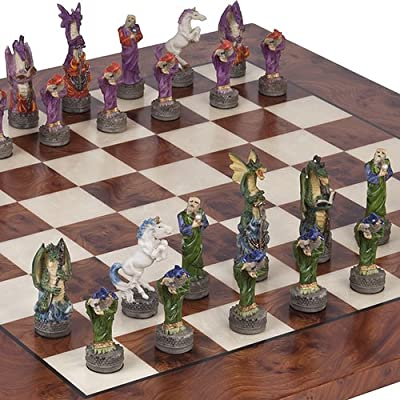 Hand Painted Fantasy Chessmen & Agostino Luxury Chess Board from Italy