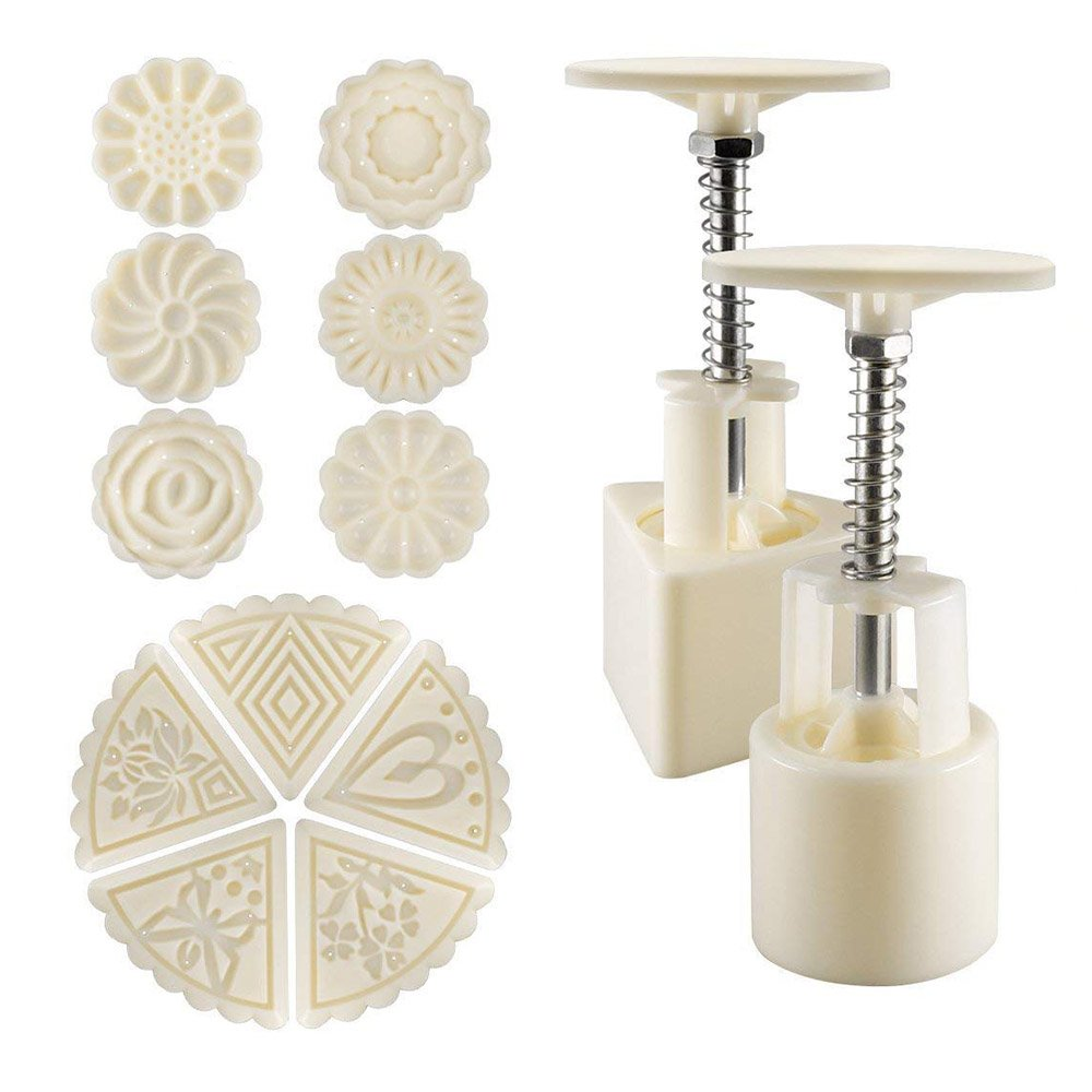 13Pcs/Set Flower Mooncake Mold, Mid-Autumn Festival Bakeware Hand-Pressure Moon Cake Maker Mould, Round & Triangle Hand Press Mould, Cake Press Cookie Stamps Cutter, DIY Cake Baking Decoration Tool