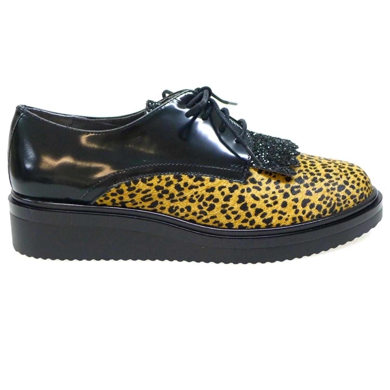 Kanna Zapato Cordón Mujer KI5676 Leopardo Glitter Negro 36 EU