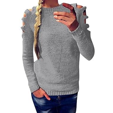 Damen New Pullover FORH Frauen Vintage Einfarbig Langarm Pullover ...