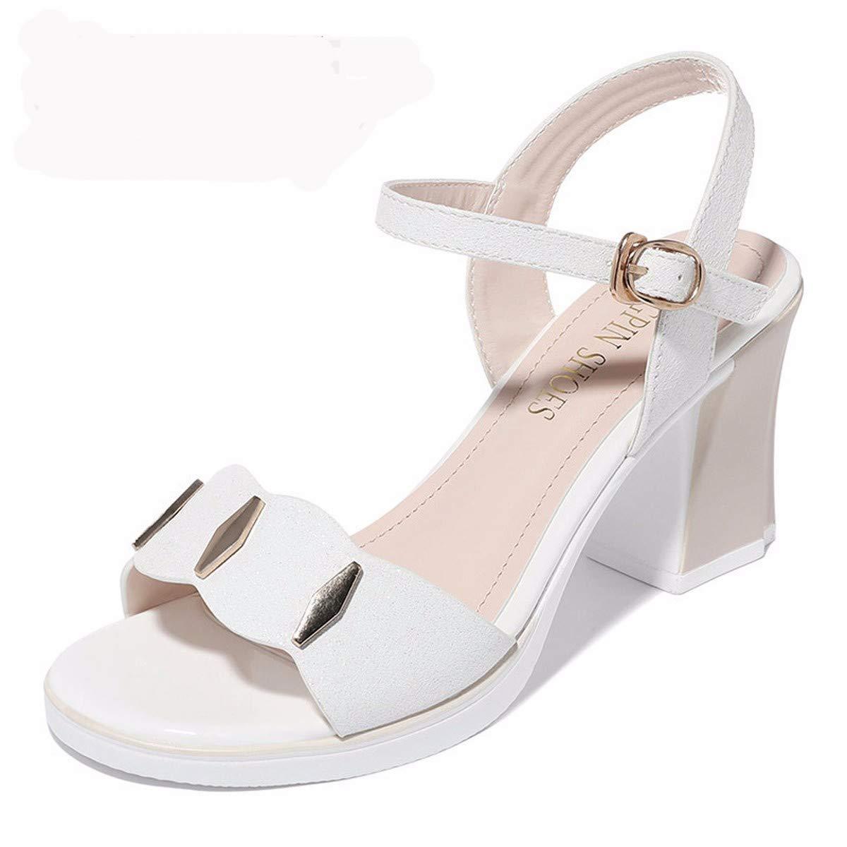 LBTSQ Damenschuhe Sommer Heel 7 cm Dicke Sohle Offene Zeh Mode Schuhe