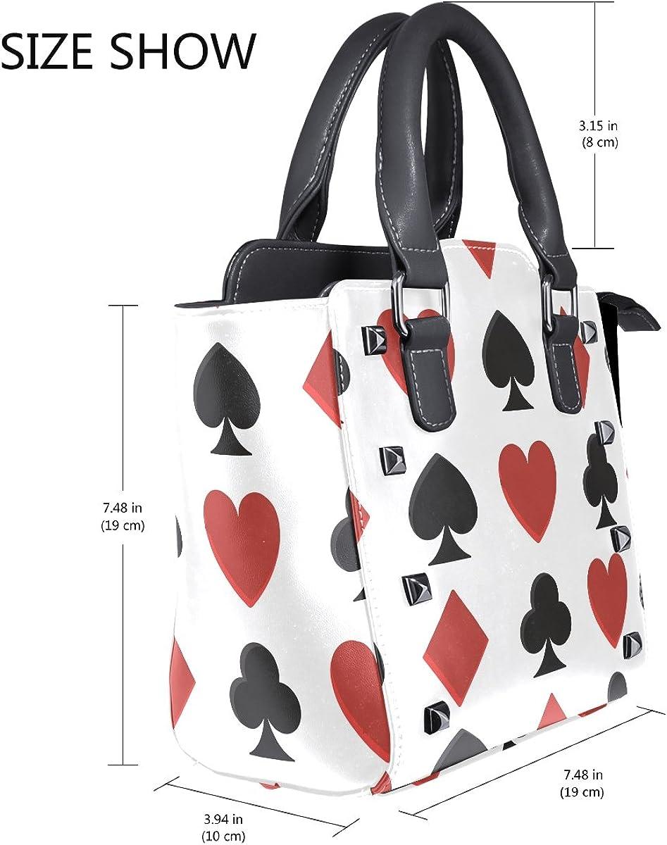 Jennifer PU Leather Top-Handle Handbags Poker Cards Spades And Hearts Pattern Single-Shoulder Tote Crossbody Bag Messenger Bags For Women