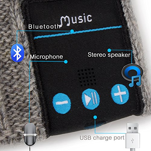 Rotibox Winter Comfy Bluetooth Beanie Hat Wireless Headset Speakers Mic Hands Free Grey