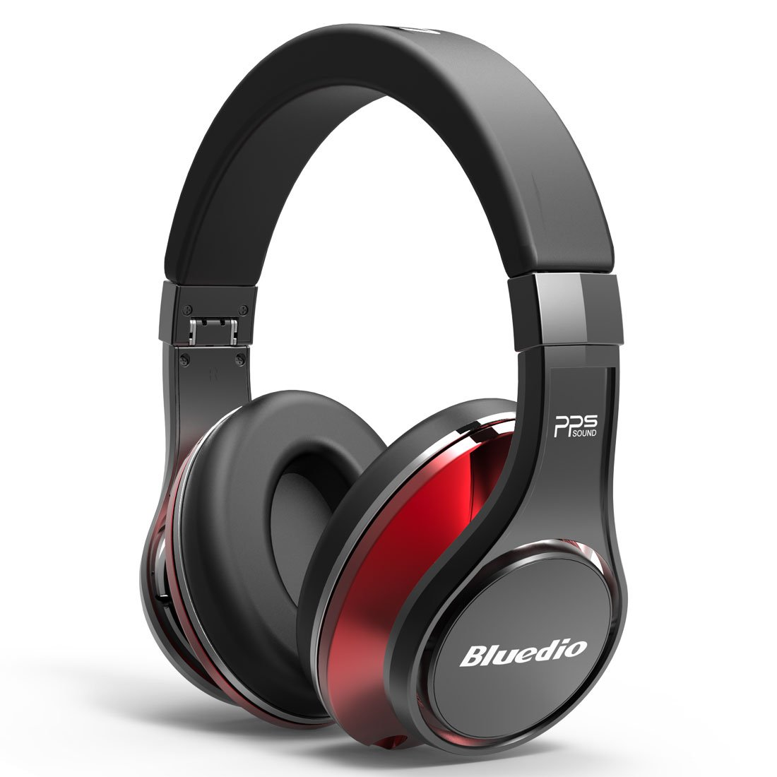 Bluedio U (UFO) PPS 8 Drivers High-End Bluetooth headphones Revolution/3D Sound Effect/Aluminum alloy build/Hi-Fi Rank wireless&wired Over-Ear headsets with carrying hard case Gift (Black and Red) by Bluedio