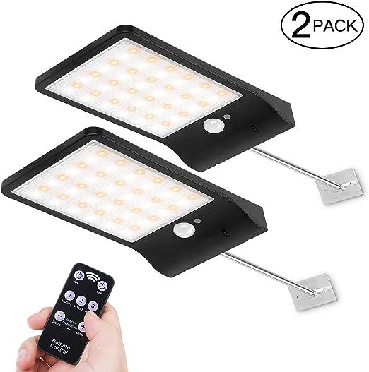AICase Luces Solares LED Exterior, 48 LED Luz Solar Exterior Jardin con Mando a Distancia y Sensor de Movimiento,IP65 Resistente al agua: Amazon.es: Iluminación
