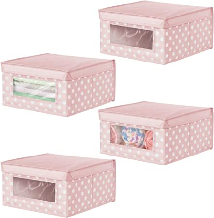 mDesign Juego de 4 cajas apilables medianas – Caja con tapa para guardar ropa de bebé o