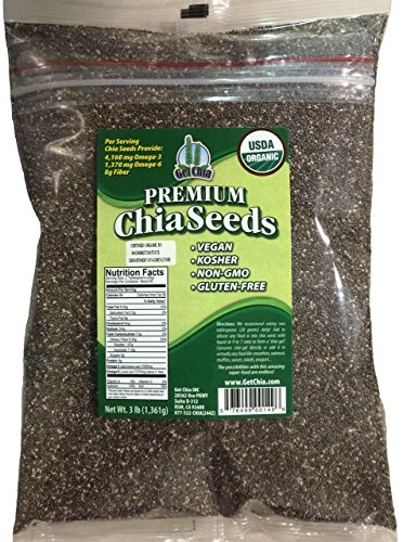 Get Chia Brand Certified Organic Chia Seeds - 36 TOTAL POUNDS = TWELVE x 3 Pound Bag by Marquis-Nutra Foods
