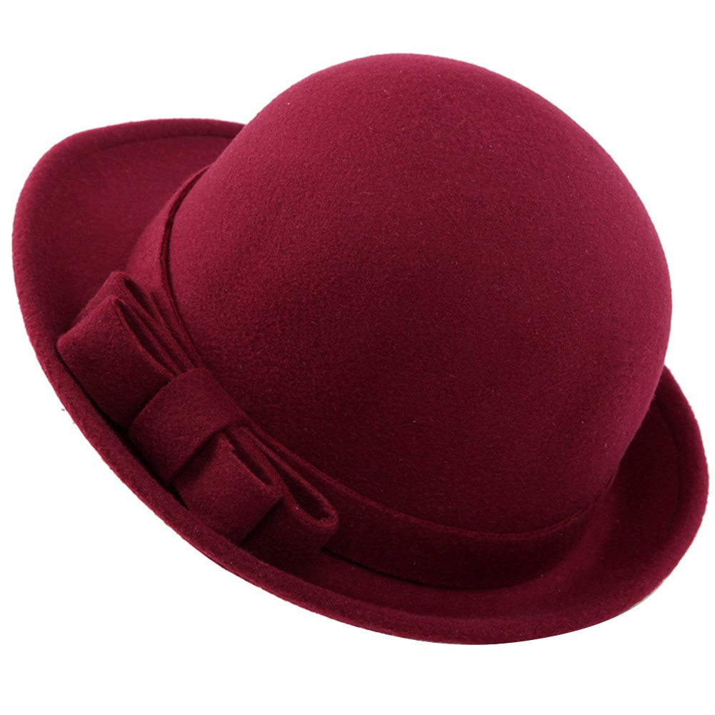Butterme Lady's Roll Brim Dura Cloche Bowler Hat with Elegent Kowknot Winter Wool Felt Tribby Fedora Billycock Cap Vintage Style (Wine Red) ZT00078JR