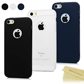 3x Funda iPhone SE, Carcasa iPhone 5S Silicona Gel - Maviss Diary Mate Case Ultra Delgado TPU Goma Flexible Cover para iPhone 5/5S/SE - (Negro + Azul ...