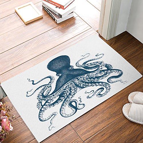 Family Decor Doormat Indoor Rubber Non Slip Entrance Way Welcome Door Mat for Bathroom/Kitchen/Front Door Area Rugs Floor Runner Carpet Shoes Scraper, Octopus Theme Ocean Animals (Door Double Personalized Mat)