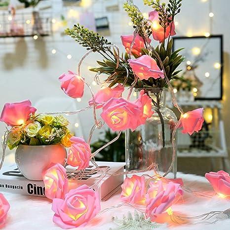 Guirlande À 5 Rose Lampe Balai Fée Mètres Fleur 10 1 Led Piles PuikOXZ